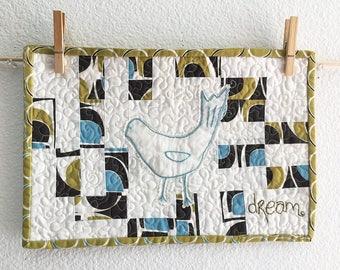 Dream Organic Bird Geo Grand Mini Art Quilt - FREE SHIPPING
