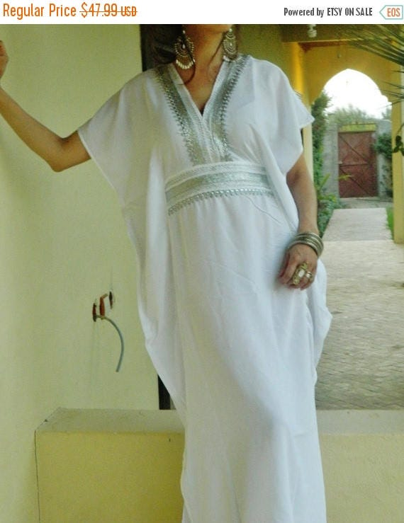 20% OFF Winter Sale// White Resort Caftan Marine Style- beachwear, loungewear, maternitywear,perfect for honeymoon, birthday gifts for her