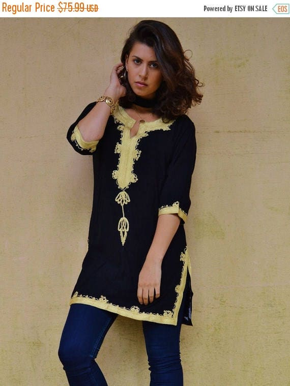 20% OFF Winter Sale// Winter Bohemian Black with Brown Embroidery Moroccan Tunic Khalia-for gifts, holiday wear, casual wear, resortwear, be