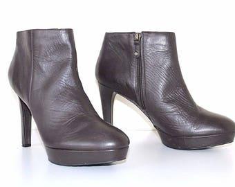 "Women's Vintage ROCKPORT ""Adiprene By Adidas"" High Heel Platform Brown 100% Real Leather Ankle Boots Size UK 7.5 EU 42"