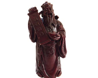 Vintage Resin Chinese Immortal Scholar Statue Figurine - Fu Fuxing God of Prosperity and Happiness