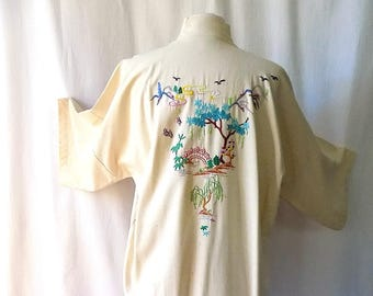 Silk Robe for Her, Hand Embroidered, Health Brand, Made in China, L