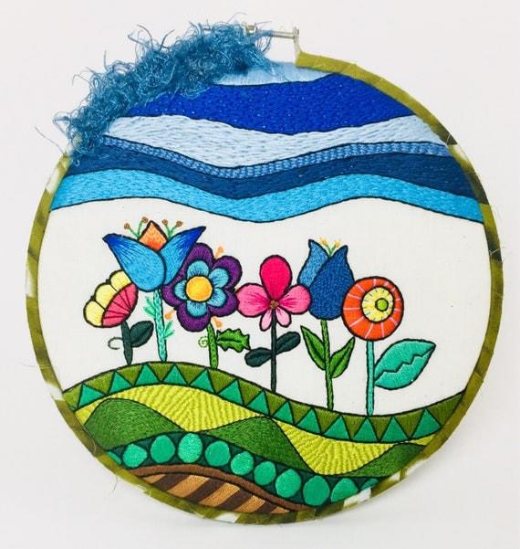 Whimsical Garden Hand Embroidered Hoop Art