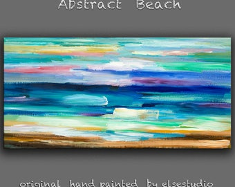 """Sale Abstract painting Modern simplicity art Large original texture Oil painting on canvas Ready to Hang by Tim Lam 48"""" x 24"""""""
