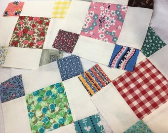 Vintage Quilt Block Square Lot of 55 Feedsack Mid-century Fabric