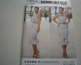 Pattern Women Mimi G Skirt and Top Sizes 20W to 28W Simplicity 8394 A