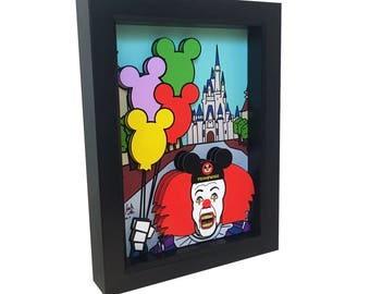 Stephen King Pennywise It Walt Disney World Pennywise Art 3D Art Mickey Ears Poster Print Horror Art Horror Print Horror Movie Evil Clown