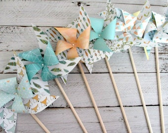 party favors table centerpiece fall decorations BOHO party favors birthday favors baby shower decorations Foxes Woodland Creatures Feathers