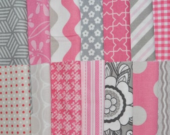 """Designer Fabric 5"""" Squares Charm Pack, Pink and Gray, 56 pieces, 100% cotton"""