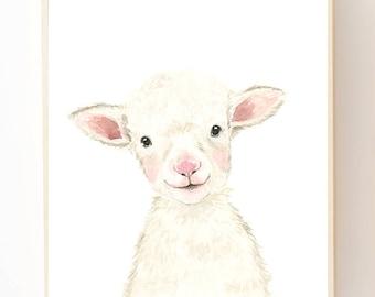 Nursery Lamb, Watercolour Art, Baby Lamb Print,Kids Decor, Nursery Art, Lamb wall art, Nursery wall decor, Nursery Sheep, baby boy room