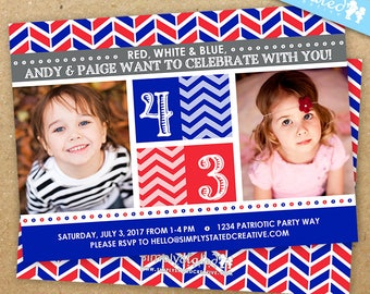 Patriotic Combined Birthday Photo Invitation, Red White Blue Party Invite - DiY Printable, Backer Included || Patriotic Pair Perfection
