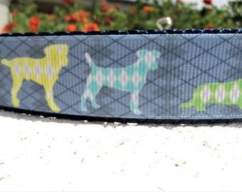 "Newest Dog Collar Argyle Dogs Quick Release buckle or Martingale collar style 1"" wide adjustable - read description within re sizing"