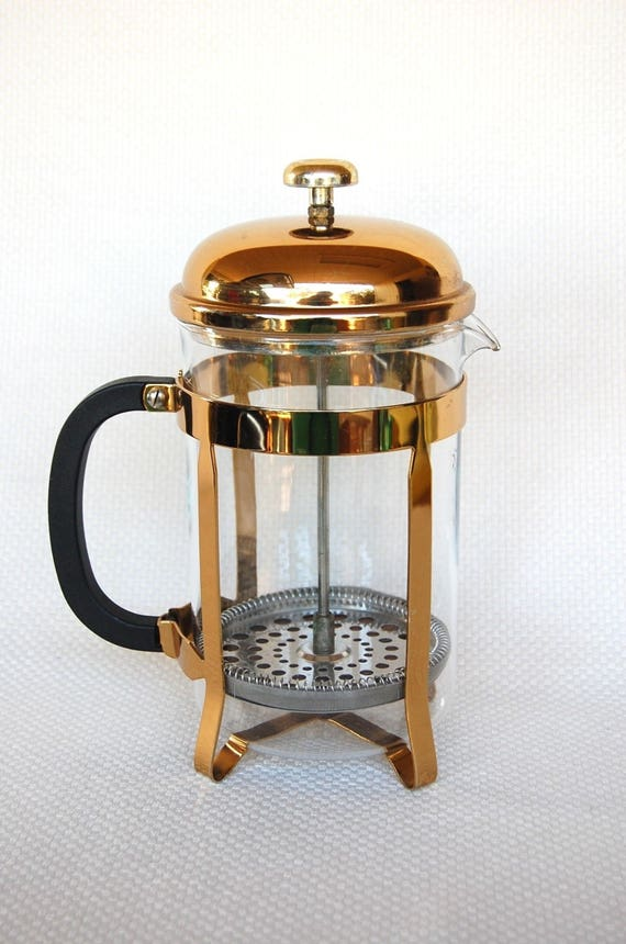 Extra Large Vintage Gold French Press with Pyrex Carafe CHAMBORD Style For Making Coffee or Tea