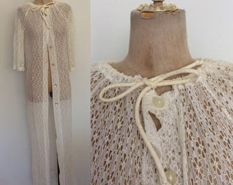 1970's White Lace Duster Vintage Swimsuit Coverup Size XS Small Medium by Maeberry Vintage