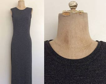 30% OFF 1990's Rayon/Poly Heather Grey Maxi Dress Size Small by Maeberry Vintage
