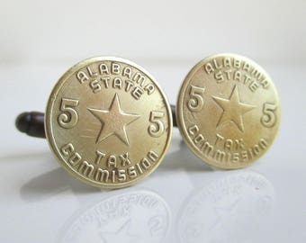 ALABAMA Token Cuff Links - Repurposed Vintage Gold Tone Coins