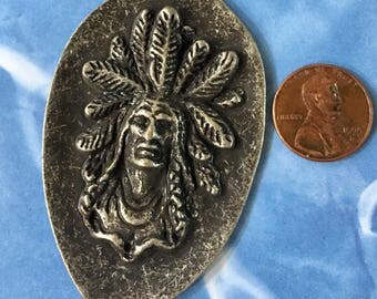 Indian Chief with Headdress Antiqued Gunmetal Pewter Pendant