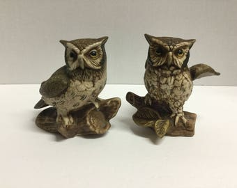 Vintage Pair of Homco Owl Figurines Barn Owl Figurines