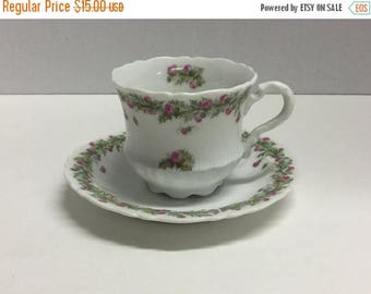 Sale Vintage Charles Tielsch C.T. Pink Flower Demitasse Espresso Tea Cup and Saucer
