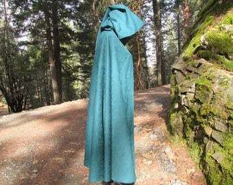 Medieval Pixie Festival Cosplay LARP Half Circle Cloak with Hood and Liripipe