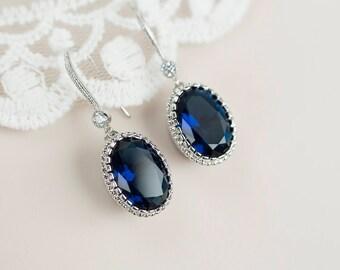 Bridal Earrings, Cubic Zirconia Blue Sapphire Earrings,Something Blue Earrings,Wedding Jewelry, Bridal Jewelry,Bridal Blue Sapphire Earrings