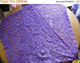 Antique Delicate Lace Table Runner in Purple!