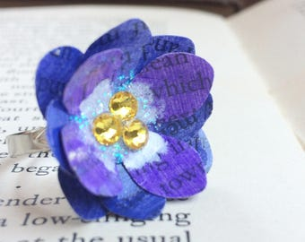 july birth flower statement ring - paper flower -purple  larkspur flower - first anniversary adjustable - gifts for her - OOAK - book lovers
