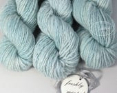 "hand dyed yarn Cashmere handspun ""Freshly Minted"" worsted 2 ply knitting yarn Mallory"