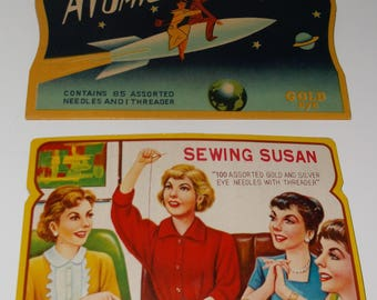 2 Vintage Retro Sewing Needle & Threader Books Kits Cases Atomic Space Rocket 1950's Graphics