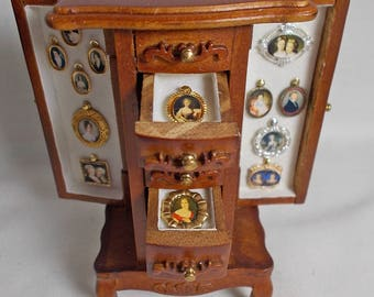 Dolls house miniature Miniature Portrait Collection Cabinet
