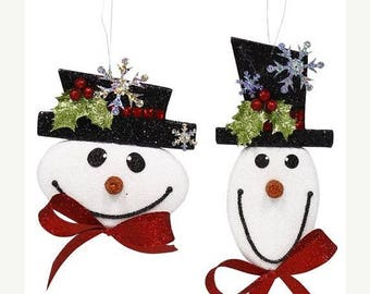 SUPPLY SALE 1 Set of Glitter Snowman Decor XY7790, Wreath Decor, Deco Mesh Supplies
