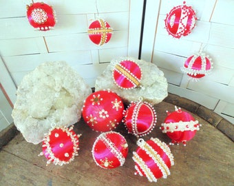 Vintage 1970s. CHRISTMAS BALLS. Hand Decorated. RED. Beaded Ornaments. Pearl Ornament. large lot of 11. Christmas tree. Christmas gift idea