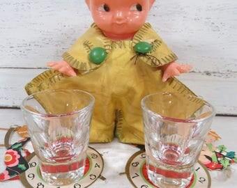 Kewpie Baby Doll Shot Glass Holder Irwin Doll Co. Hard Plastic, Vintage Barware