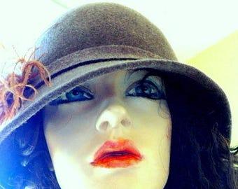 Cloche Hat Brown Wool Felt