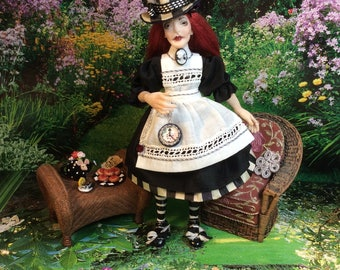 Alice In Wonderland, Goth Alice, Doll House Alice, Miniature Goth Alice, Miniature Alice in Wonderland