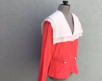 Vintage Ruffle Blouse, White and Pink 80s Blazer