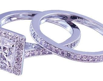 14k white gold princess cut moissanite and diamond engagement ring and band Bridal Halo Natural Diamonds Wedding 1.65ctw
