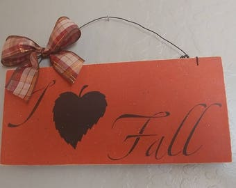 I Love Fall - Wooden Fall Sign - Wooden Sign