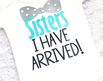 "Baby Brother Infant Baby Boy ""Sisters I Have Arrived"" White Baby Bodysuit, New Baby Brother, Little Brother, Coming Home Outfit, Bow Tie"