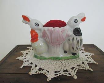 Vintage Pincushion Porcelain Bunnies - Small Flower Pincushion - Sewing Room Decor - Craft Room Decor - Quilting - Japan