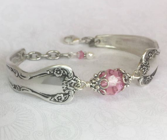 Spoon Bracelet, Pink Rose Swarovski Crystal, Birthstone Jewelry - 'Daybreak' 1952