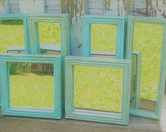 6 Shades of the Beach  Wall Mirrors Robins Egg Blue & Sea Foam Green
