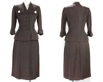 Size 4 New Look Suit - Dark Brown Taffeta 1950s Suit Jacket & Skirt - Rhinestone Buttons - Hourglass Peplum - Late 40s Early 50s - 49233