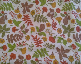 Autumn Lef and Flower Print Cotton Polyester Blend Fabric 4 Yards X1008