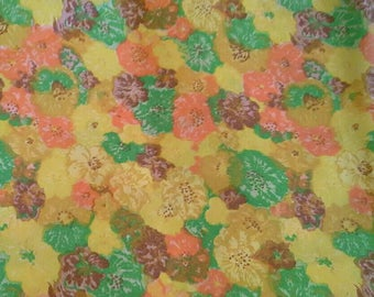 Colorful Floral Silky Print 2 1/2 Yards X1162 Orange, Green, Yellow, Brown