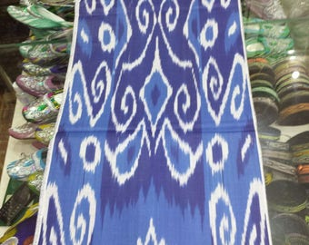 Uzbek traditional cotton woven ikat fabric by meter. Tribal, ethnic, boho fabric. Blue ikat