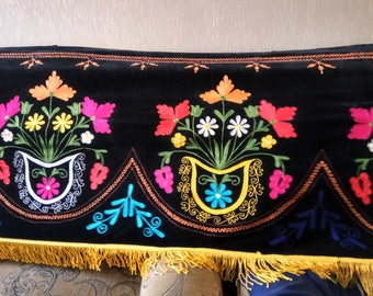 Vintage Uzbek silk embroidery on black velvet suzani. Table runner, wall hanging, home decor suzani. SW052