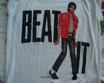 Vintage Michael Jackson 1984 BEAT IT original Tour Concert Sleeveless T shirt Adult size XS