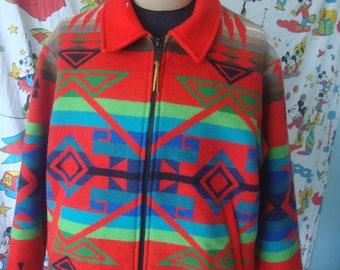 Vintage Pendleton High Grade Western Wear Wool Aztec Multicolor Jacket XL USA