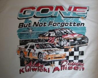 Vintage 80's Alan Kulwicki And Davey Allison Gone But Not Forgotten Race Car Drivers T Shirt Size XL